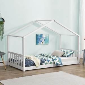 Juskys 'Paulina' Hausbett 90 x 200 cm, weiß, mit Lattenrost, Kiefer massiv
