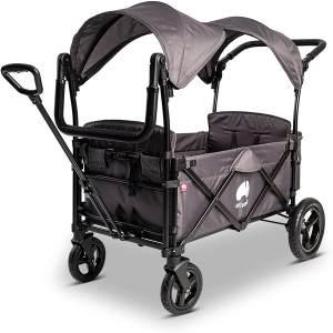 Elvent 'FamilyStar Premium' Bollerwagen in Grau klappbar, inkl. Sonnendach, Zugstange, Schiebegriff, 5-Punkt-Gurte und Hecktasche, 2-Sitzer
