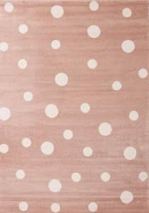 VIMODA Kinderteppich Weiß Gepunktet Kunstfaser 120 x 170 cm rosa/weiß