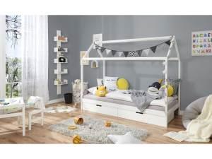 Kinderbett Hausbett mit Schubkästen 90x200 cm Kiefer weiß