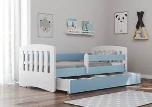 Bjird 'Classic' Kinderbett 80 x 140 cm, Blau, inkl. Rausfallschutz, Lattenrost und Bettschublade