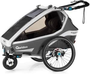 Qeridoo 'Kidgoo2 Sport' Fahrradanhänger 2020 Grau, 2-Sitzer, inkl. luftbereiftes Buggyrad