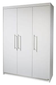 Roba 'Maren' 3-trg. Kleiderschrank, weiß, mit 2 Kleiderstangen und 6 Ablagefächern