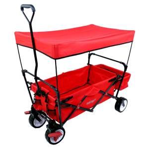 FUXTEC 'FX-CT350' Bollerwagen in Rot, inkl. Bremse, Sonnendach und Hecktasche