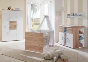 Arthur Berndt 'Anna' Babyzimmer Komplettset 3-teilig, Kinderbett (70 x 140 cm), Wickelkommode mit Aufsatzseiten und Kleiderschrank Goldeiche / Weiß