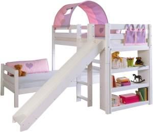 Relita 'BENI L' Etagenbett Buche massiv weiß lackiert, 2 Liegeflächen über Eck, mit 1-er Tunnel u. Tasche purple/rosa/herz