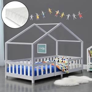 en.casa 'Treviolo' Hausbett 90x200 cm, grau/weiß, Kiefernholz, mit Matratze, Lattenrost und Rausfallschutz