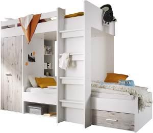 Bega 'Maxi' Funktions-Etagenbett weiß/sandeiche, inkl. Stufen, Kleiderschrank und Bettkasten