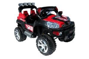 Actionbikes Motors 'Kinder Elektro Jeep 801 - 2x25 Watt Motor' Kinderelektro-Auto, bis zu 7 km/h schnell, schwarz/rot, ab 3 Jahren
