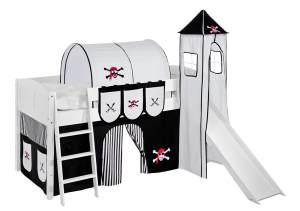 Spielbett 'LANDI/S' weiß inkl. Vorhang und Turm 'Pirat Schwarz'