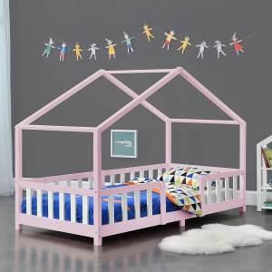 en.casa 'Treviolo' Hausbett 90x200 cm, rosa/weiß, Kiefernholz, mit Lattenrost und Rausfallschutz