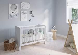 FabiMax 'Nachteule' Kinderbett, 60 x 120 cm, weiß, Kiefer massiv, 3-fach höhenverstellbar, umbaubar, mit Matratze Comfort