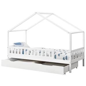 Juskys 'Yuki' Hausbett 90x200 cm, weiß, mit Matratze, Rausfallschutz, Bettkasten & Lattenrost, Kiefer massiv
