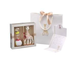 Sophie la Girafe - Ein exklusives Geschenkset inklusive hochwertiger Papiertragetasche mit Kordeln und Satinband