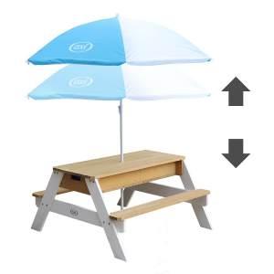 AXI 'Nick' Matsch-und Spieltisch mit Sonnenschirm, braun/weiß