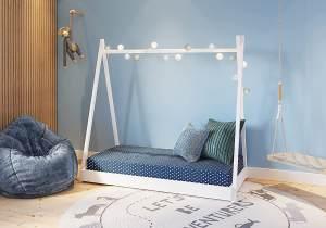 FabiMax 'Tipi' Kinderbett, 80 x 160 cm, weiß, Kiefer massiv, inkl. Lattenrost und Matratze Comfort