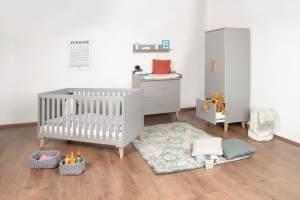 Bellabino 'Gora' 4-tlg. Babyzimmerset 70x140 cm, grau, Set aus umbaubarem Babybett, Wickelkommode mit abnehmbarem Wickelaufsatz 75x85 cm, 2-trg Schrank und Wandregal