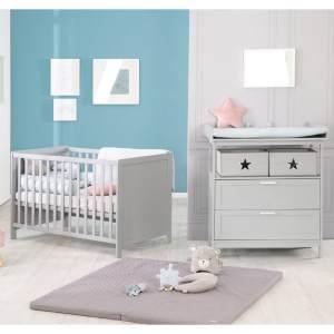 Roba 'Hamburg' 2-tlg. Kinderzimmerset, taupe, aus Kinderbett 60x120 cm und Wickelkommode