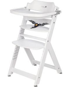 Safety 1st 'Timba' Treppenhochstuhl, weiß, 4-fach höhenverstellbar, mit Sicherheitsbügel, Gurt und Essbrett, Buche massiv