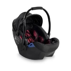 Lorelli Babyschale Rimini Gruppe 0+ (0-13 kg), weiches Kopfkissen, Fußabdeckung rot/schwarz