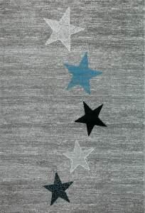 VIMODA Teppich Modern Kurzflor Stern Muster 120 x 170 cm grau/schwarz/türkis