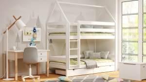 Kinderbettenwelt 'Home' Etagenbett 90x200 cm, erle, Kiefer massiv, mit Lattenrosten und zwei Schubladen