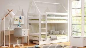 Kinderbettenwelt 'Home' Etagenbett 80x190 cm, erle, Kiefer massiv, mit Lattenrosten und zwei Schubladen
