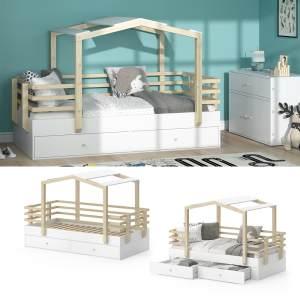 VITALISPA 'Pippi' Hausbett 90x200 cm, Erle weiß, inkl. Lattenrost und Bettschubladen