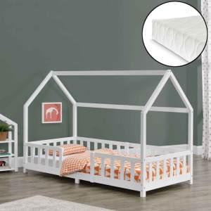 en.casa 'Sisimiut' Hausbett 90x200 cm, weiß, Kieferholz, inkl. Matratze, Rausfallschutz und Lattenrost