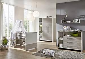 Schardt 'Eco Silber' 3-tlg. Babyzimmer-Set Kinderbett, Schrank 2-türig und Kommode