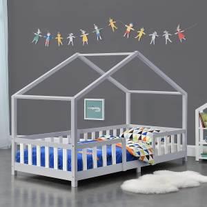 en.casa 'Treviolo' Hausbett 90x200 cm, grau/weiß, Kiefernholz, mit Lattenrost und Rausfallschutz