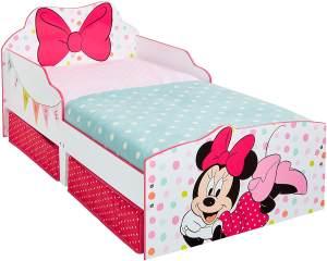 Worlds Apart 'Minnie Mouse' Kinderbett, weiß/pink, 70x140 cm, inkl. 2 Textilschubladen