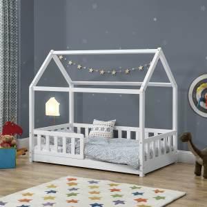 Juskys 'Marli' Hausbett 80 x 160 cm, weiß, Kiefer massiv, mit Rausfallschutz und Lattenrost
