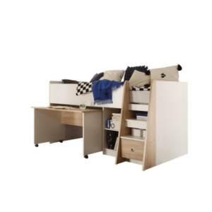 Bega 'PIERRE' Funktionsbett eiche sonoma/weiß, inkl. integriertem Schreibtisch