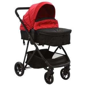 vidaXL 2-in-1 Buggy/Kinderwagen Rot und Schwarz Stahl