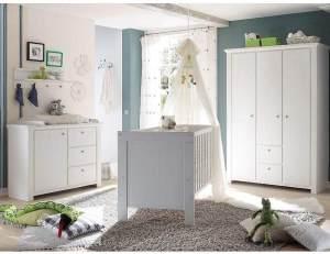 Storado 'Dandy' 5-tlg. Babyzimmer-Set anderson pine, inkl. Kinderbett, Wickelkommode, Kleiderschrank, Wandregal und Lattenrost
