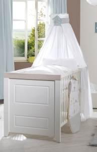 Roba 'Felicia' Kinderbett weiß, 70 x 140 cm, höhenverstellbar, 3 Schlupfsprossen, umbaubar