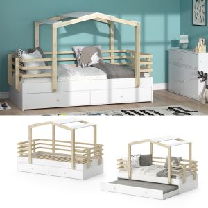 VITALISPA 'Pippi' Hausbett 90x200 cm, Erle weiß, inkl. Lattenrost und Gästebett