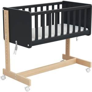 Osann '5in1' Beistellbett, Natur/Graphit, inkl. Matratze, auch als Stubenwagen, Sitzbank, Spielzeugtruhe oder Schreibtisch nutzbar