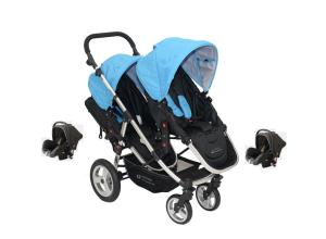 Babyfivestar Geschwisterwagen Blau inkl. zwei Babyschalen