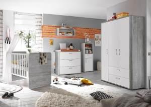 Storado 'Frieda' 5-tlg. Babyzimmer-Set, vintage wood grey/weiß matt, aus Bett 70x140 cm, Kleiderschrank, Wickelkommode, Wandregal und Beistellschrank