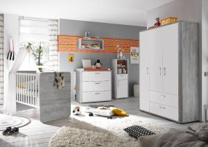 Storado 'Frieda Set 3' 5-tlg. Babyzimmer-Set vintage wood grey/weiß matt lack
