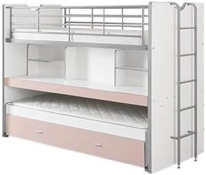 Vipack 'Bonny' Funktionsetagenbett weiß/rosa