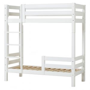 Hohes Etagenbett 70x160 cm mit gerader Leiter und Rausfallschutz klein - Weiß - Hoppekids Premium