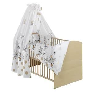 Kinderbett Classic-Line Buche 70x140 cm, inklusive Umbaukit, Bett-Set Capucine, Matratze und Himmelstange
