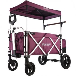 FUXTEC 'CTL-900' Luxus Bollerwagen in Purpur, inkl. Sonnendach, Hecktasche, Zugstange und Schiebegriff, gepolsteter Boden und Rückenlehne, 5-Punkt-Sicherheitsgurt und belüftetes Schuhfach
