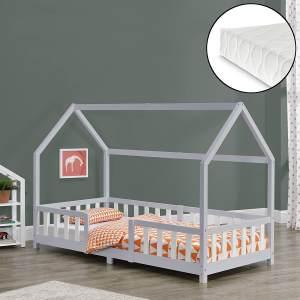 en.casa 'Sisimiut' Hausbett 90x200 cm, grau/weiß, Kieferholz, inkl. Matratze, Rausfallschutz und Lattenrost