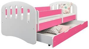 Clamaro 'Joy' Kinderbett 80x180 cm, weiß/rosa, inkl. Matratze, Lattenrost und Bettkasten