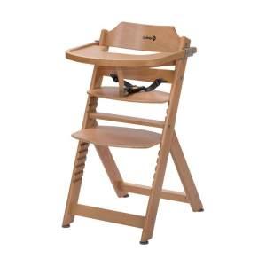 Safety 1st 'Timba' Treppenhochstuhl, natur, 4-fach höhenverstellbar, mit Sicherheitsbügel, Gurt und Essbrett, Buche massiv