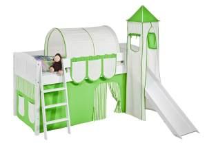 Spielbett 'LANDI/S' weiß inkl. Vorhang und Turm Grün Beige